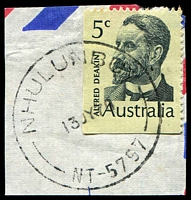 Lot 1291:Nhulunbuy: - 'NHULUNBUY/13JY70/NT-5797' (arcs 9,9) on 5c Deakin. [Rated R]  PO 4/2/1970.
