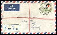 Lot 6566 [1 of 2]:Parap (3): - 'PARAP/20OC67/[NT]-AUST' (arcs 14mm 'PARAP 19mm wide) on 25c on cover with blue registration label. [Rated 3R]  PO 2/1/1960; renamed Darwin North PO 2/9/1974.