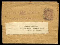 Lot 1125:Port Darwin: 23mm 'PORT DARWIN N.T./18/MY1/91/S_A' on ½d violet Newspaper Wrapper (H&G #E3) to Gordon & Gotch, Melbourne. [Use of wrappers in the 19th Century is quite rare.]