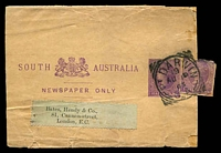 Lot 7469:Port Darwin: - 26mm 'PT DARWIN/19/AU19/03/S_A' on ½d violet Newspaper Wrapper (H&G #E7) uprated with ½d cut-out, to England. [This is 3 years earlier than H&G quote as the issue date for this wrapper.]