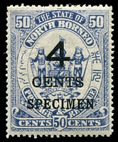 Lot 24124:1899 Surcharges SG #119s 4c on 50c deep slate-purple ovpt 'SPECIMEN'.