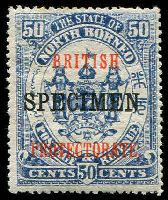 Lot 24125:1901-05 Ovptd 'BRITISH/PROTECTORATE' SG #140bs 50c chalky blue ovpt 'SPECIMEN', minor toning.