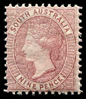 Lot 1725:1876-1900 Wmk Broad Star Perf 11½-12½ SG #124 9d rose-lilac (large holes).