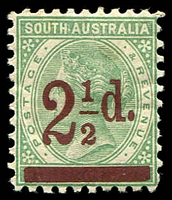 Lot 1727:1891-93 Surcharges Perf 10 SG #229 2½d on 4d pale green, brownish gum.