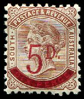 Lot 1292:1891-93 Surcharges Perf 10 SG #230a 5d on 6d deep brown.