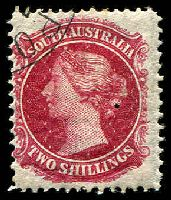 Lot 1697:1901-02 Wmk Crown/SA (Wide) Perf 11½-12½ (Large Holes) SG #151 2/- carmine, hinge rem, Cat £11, CTO cancel.