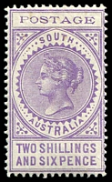 Lot 1293:1902-04 Thin 'POSTAGE' Perf 11½-12½ SG #276 2/6d pale violet, Cat £65.