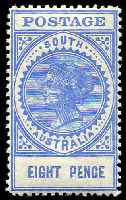 Lot 1294:1904-11 Thick 'POSTAGE' Wmk Crown/SA (Close) Perf 12 SG #285 8d bright ultramarine, .