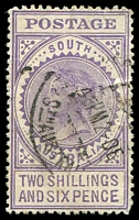 Lot 1729:1904-11 Thick 'POSTAGE' Wmk Crown/SA (Close) Perf 12 SG #289a 2/6d dull violet (type X), couple of thinned perfs, Cat £25.