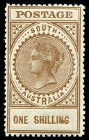 Lot 9029:1906-12 Thick 'POSTAGE' Wmk Crown/A Perf 12,12½ SG #303b 1/- brown, P12½.