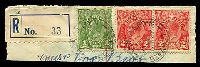 Lot 1410:Coonalpyn: 'COONALPYN/15JA37/STH AUST' on 1d green & 2d red KGV x2 on piece with blue & black provisional C5 registration label.  PO c.-/4/1887.