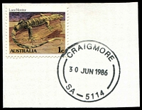 Lot 1786:Craigmore: - 'CRAIGMORE/30JUN1986/SA-5114' (Opening Day) on 1c Lizard.  Renamed from Elizabeth Downs PO 30/6/1986.