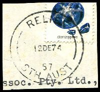 Lot 1741:Streaky Bay: 'RELIEF/12DE74/57/STH AUST' on 10c (cut-through). [Identification made by previous owner.]  PO 1/10/1862.