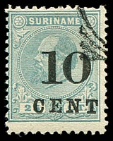 Lot 28362:1898 Surcharges SG #72a 10c on 25c greenish blue P11½x12, Cat £17.