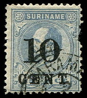 Lot 28363:1898 Surcharges SG #73a 10c on 25c ultramarine P11½x12, damaged at right, Cat £800.