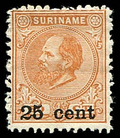 Lot 4464:1900 (Mar) Surcharges SG #84 25c on 50c orange-brown P12½x12, issued without gum