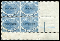 Lot 10125:Stamp Duty: 1900 1d blue Platypus corner block of 4 Optd 'REVENUE', no gum.