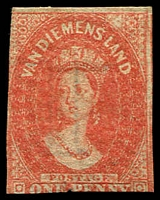 Lot 2210:1857-69 Imperf Chalon Wmk Double-Lined Numeral SG #28 1d dull vermilion 2-margins, MNG, Cat £300.