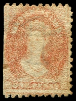 Lot 1758:1863-71 Chalon Wmk Double-Lined Numeral Perf 10 SG #58 1d dull vermilion, straight left edge, MNG, Cat £150.