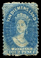 Lot 1942:1863-71 Chalon Wmk Double-Lined Numeral Walsh & Sons Perf 12 SG #72 4d deep blue, narrow stamp, Cat £250.