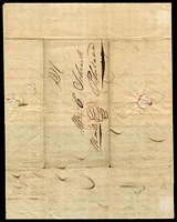 Lot 29266 [2 of 2]:1839 entire from New York to Philadelphia with printed receipt for railroad parcel delivery, some splitting on paper folds. Unusual.