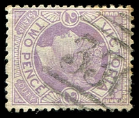 Lot 10622:336: type 3R on 2d on 2d lilac Naish.  Allocated to Yarram Yarram-PO 1/2/1861; renamed Yarram PO c.1925.