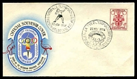 Lot 2632:Olympic Games: WWW #120 'XVI. OLYMPIAD/[shot put]/22NOV1956/MAIN STADIUM MELBOURNE·VIC·AUST' & 'XVI. OLYMPIAD/[stadium]/22NOV1956/MAIN STADIUM MELBOURNE·VIC·AUST' on 4d Olympics on VPA cover.  Temporary post offices were opened at the various venues for the 1956 XVI Olympiad. Each venue has a separate entry.