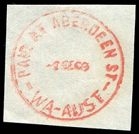 Lot 17825:Aberdeen Street: - 'PAID AT ABERDEEN ST/8SE69/WA-AUST' in red.  Renamed from Perth North West PO 1/4/1898; renamed Northbridge PO 30/1/1987.