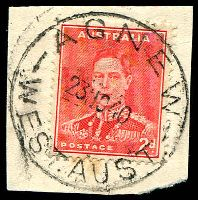 Lot 3055:Agnew: 'AGNEW/23NO40/WEST.AUST', on 2d red KGVI.  Renamed from E.M.U. Mine Lawlers PO 17/12/1936; closed 2/7/1979.