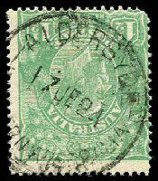 Lot 3059:Aldersyde: 'ALDERSYDE/17JE24/[WESTE]RN AUSTRALIA' on 1½d green KGV.  TO 2/3/1916; RO 1/8/1916; PO 1/11/1922; closed 31/12/1976.