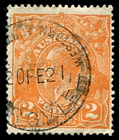 Lot 3138:Argyle: - 'WESTERN AUST[RALIA]/20FE21/[A]RGYLE' (ERD - inscriptions read outwards), on 2d orange KGV.  RO 1/6/1909; PO 8/10/1910; closed 12/12/1975.