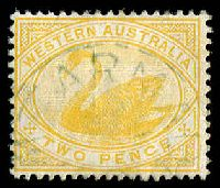 Lot 17852:Armadale: - green framed 'ARMAD[ALE]/1/[?]/|?/W[.A]' on 2d yellow swan.  PO 1/9/1898.