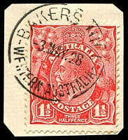 Lot 3062:Bakers Hill: 'BAKERS HILL/3MAY28/WESTERN AUSTRALIA' on 1½d red KGV.  RO 1/6/1906; PO 17/5/1907.