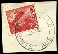 Lot 3374:Banksiadale: - 'BANKSIADALE/30JY56/WEST-AUST' on 3½d red QEII.  Renamed from No. 2 State Mill, Dwellingup PO 9/11/1937; closed 31/12/1964.
