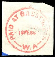 Lot 3064:Bassendean: red 'PAID AT BASSENDEAN/18FE66/W.A' (#C30c).  Renamed from West Guildford PO 23/9/1923.