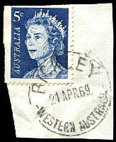 Lot 3152:Bickley: - 'BICKLEY/21APR69/WESTERN AUSTRLIA' on 5c blue on piece.  RO 1/1/1916; PO 1/11/1924; closed 6/11/1970.