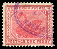 Lot 3089:Canning Mills (2): violet double-oval '[POST OFFICE]/27JA[?]/CANNING M[ILLS, W.A.]' on 1902 1d red Swan.  RO 17/6/1906; PO 1/3/1907; RO 1/1/1908; PO 1/11/1911; RO 1/8/1916; closed 30/6/1927.