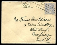 Lot 793:1923 use of 4d blue KGV on cover to Thomas Alva Edison, couple of opening faults.