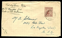 "Lot 796:1932 (Jun 2) use of 6d Large Kookaburra on cover (reduced slightly at left) from Woomelang, Vic to USA. Endorsed ""First Day"" but missed out, cancelled 1 day later."