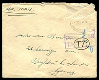 "Lot 591 [1 of 2]:1932? air cover from Brisbane to Sydney with boxed 'EXCEEDS ""½"" OZS/TAX' + oval 'T7D' on face. 1d PDue x7 on back, Unfortunately stamps on face removed. Rare markings."