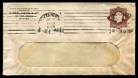 Lot 4259:1919-21 1½d Brown KGV Star No 'POSTAGE' BW #ES51 Die 2 on Parke, Davis & Co window envelope, a little discoloured, Cat $200. 1919 (Apr 8) use from Sydney.
