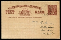 Lot 845:1920-22 1½d Red-Brown KGV Sideface - Footnote Deleted BW #P52(1)x with light Melbourne CTO of 5NO20, Cat $50. Addressed to NSW.