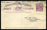 Lot 990:1923-24 1d Violet KGV Sideface BW #P56(2) on off-white, Cat $50, NSW Government Railways message on back, 1924 use Sydney to Tamworth, light staining, fine British Empire Krag machine slogan.