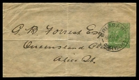 Lot 4406:1915-18 ½d Green KGV Sideface BW #W3 No Text, address piece, neat 1917 (Dec 10) used from Brisbane to Alice.
