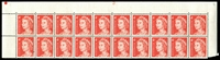 Lot 2958:1966-73 4c QEII Helecon Ink BW #439ze plate '21' upper block of 20, unit 2/9 with Broken earing (BW #439f), hinged in margin only, Cat $30.