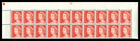 Lot 877:1966-73 4c QEII Helecon Paper BW #440zdd plate '-20-' upper block of 20, hinged in margin only, Cat $30.