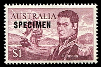 Lot 345:1966-74 $1 Flinders BW #463xa overprinted with 14¾mm 'SPECIMEN', Cat $140.