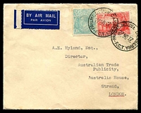 Lot 2923:1/4d Greenish Blue - plus 2d Sesquicentenary cancelled with 'PARLMT.HOUSE CANBERRA/27NO37/F.C.T.' on Commonwealth of Australia air cover to London, neat and attractive item.
