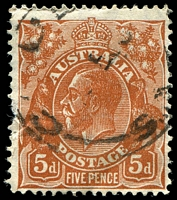 Lot 306:5d Orange-Brown Die II - [3L23] Broken shading line left of King's moustache, pulled perf.