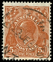 Lot 309:5d Orange-Brown Die II - BW #127(3)l [3R34] Flaw above kangaroo's ear - not readily apparent but confirmed by secondary flaws, Cat $25.